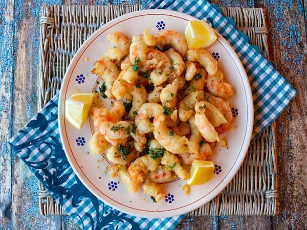 Fried shrimp,sprinkled with a gremolata type of blend that included fresh parsley, sea salt, a chili pepper, and some lemon zest. You could serve this dish as an appetizer for 6 to 8, or as a main course for 4 to 6.