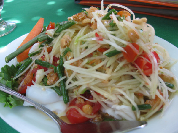 Range of salads from green papaya to roast chicken